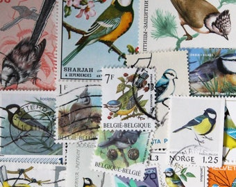 FREE SHIPPING ; 20 different vintage worldwide TITS ( birds ) postage stamps for collecting, crafting , scrapbook etc.