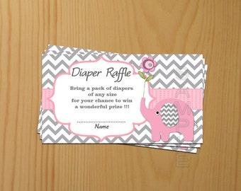 Baby Shower games Elephant Baby Shower Diaper Raffle Ticket Diaper Raffle Card Diapers Raffles Printable Digital Files (50a)