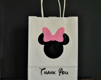 10+ Mouse Party Favor Bags - Pink Bow Party Favor Bags - Red Bow - Favor Bags Handles - Mixed Lot Favor Bags - Wedding Favor Bags 8 x 5