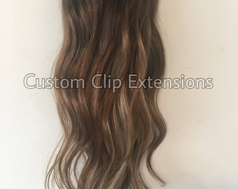 Light Blonde Clip in Hair Extensions, Clip In Hair Extensions, Balayage Hair Extensions, Hand Made