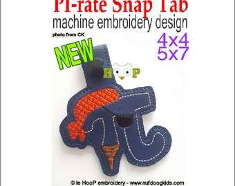PI-rate Snap Tab Key Fob Machine Embroidery Applique Design 4x4 5x7 PI Day March 14 314 Math PIDAY 3.14