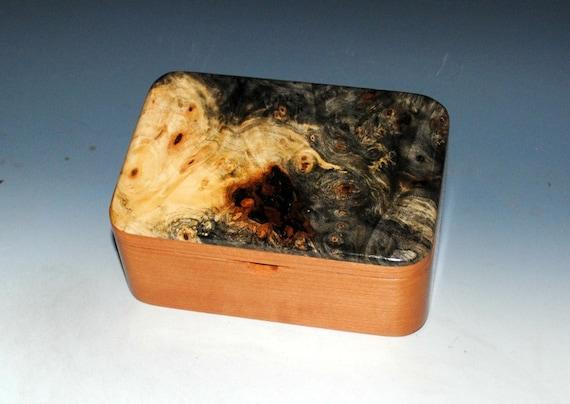 Handmade Wood Box With Tray - Wooden Box of Cherry and Buckeye Burl - Jewelry Box, Desk Box, Small Box, Keepsake Box, Handmade Wooden Box