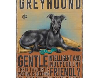 Black Greyhound Metal Sign