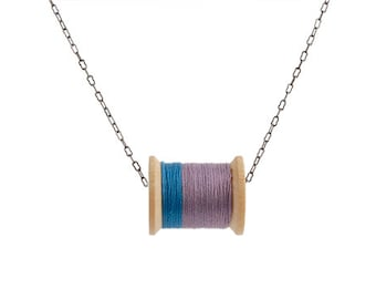 SALE: Blue and Plum Thread Spool Necklace