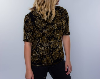 1970s 80s Gold Beaded Blouse XS Small Embellished Vintage Top | Sparkle Shirt | Disco Retro Chic Golden Glittery Going Out Top 5FF