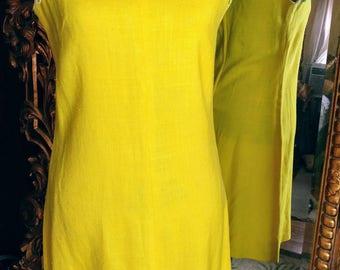 Vintage 1960's Lemon Yellow Bleeker Street Linen Dress