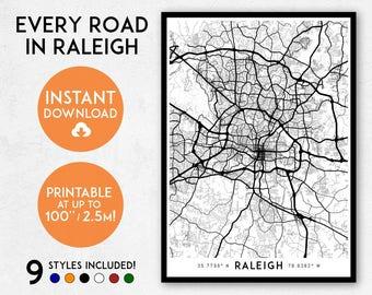 Raleigh map print, Printable Raleigh map art, Raleigh print, USA map, Raleigh art, Raleigh poster, Raleigh wall art, North Carolina map art