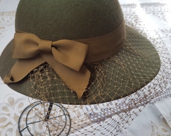Olive Green Wool Hat