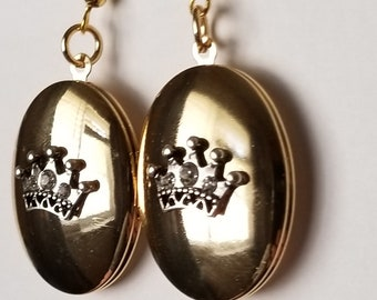 Gold Crown Locket Earrings