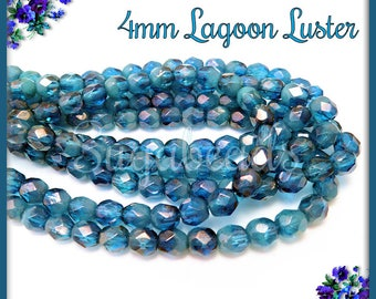 50 Faceted Fire Polished Blue Lagoon Luster Beads - 4mm Fire Polished Czech Glass Beads CZN23