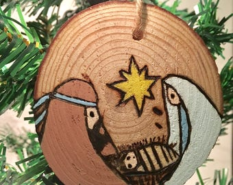 O Holy Night Ornament - Wood Slice Ornament - Nativity Ornament - Wood Slice Ornament - Painted Ornament