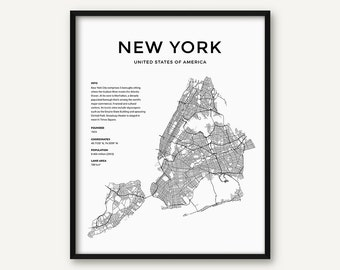 New york city map Etsy
