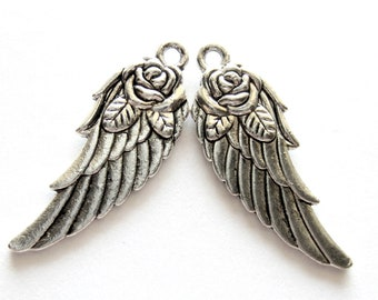 12 Antique silver wing charms w rose angel wing charms 11mm x 31mm double sided HP(SR6-4),