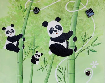 Painting for Kids / nursery - Panda and bamboo table
