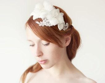 Wedding headband, Bridal Headpiece, Silk Flower headpiece, Floral Headband, Bridal Headband, Floral Headpiece, Beaded Headpiece - Wishes