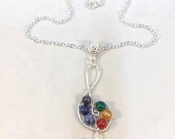 Treble Clef Pendant, Music Necklace, Rainbow Necklace, Stone Bead, Chakra Necklace, Chakra Beads, Rainbow Treble Clef, Natural Stone Pendant