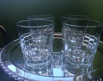 "4 Cristal d'Arques/J.G. Durand ""Chantelle"" Pattern Old Fashioned Crystal Glasses, Whiskey Glasses"