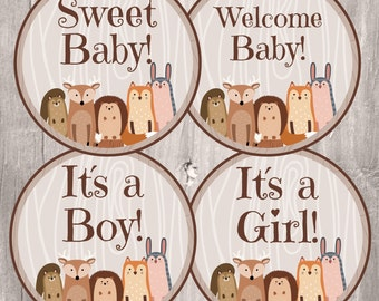 Woodland Baby Shower Centerpieces, Instant Download, Printable Woodland Party Circles 4 inches, Woodland Bab Shower Decoration