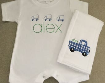 Personalized Little Trucks Romper and Burp Cloth Gift Set!