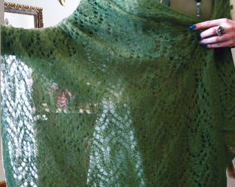 Gift-for-her mohair knit shawl Wool knit Scarf bridal shawl Gift-for-grandma Anniversary gift green shawl Lace Personalized Women's Scarves