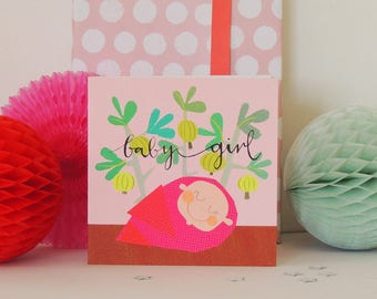 baby girl card | new baby card | greetings card | baby girl