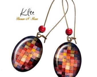 Painted tiles Paul Klee fantasy painting gift art jewelry bronze cabochon earrings