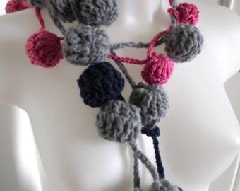 Fun scarf, scarf balls funny scarf, crochet scarf, fashion scarf