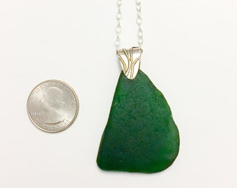 Dark Emerald Green Sea Glass Sterling Silver Long Necklace