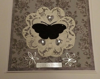 Die cut handmade butterfly and hearts card 2 pack