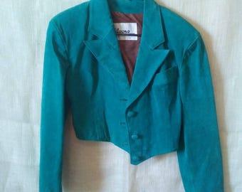 Vintage 1970s Cropped Teal Leather Jacket