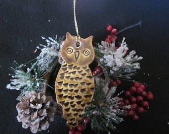 Pottery, Owl, Ornament, Christmas, Ceramic, Handmade
