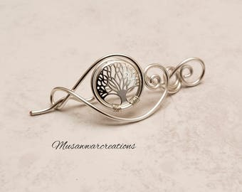 Silver tree of life for knitted shawl and sweater,silver wire scarf pin, filigree sweater pin, swirl design tree of life shawl pin