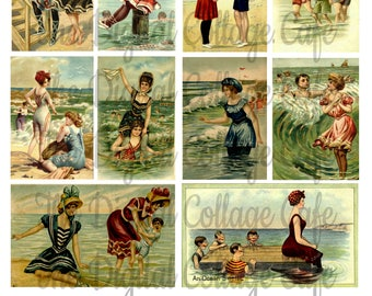 Vintage Swimming and Swimsuit Posters Digital Collage Sheet - TT - 027 - Instant  Download