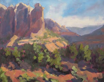 Gazing at Coffee Pot Rock, Sedona - Arizona - Original Oil Landscape Painting