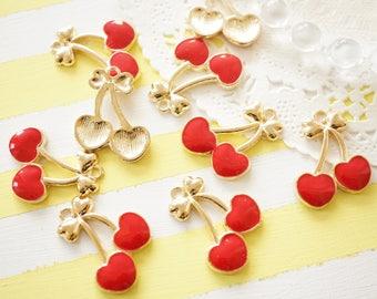 3 pcs Gold Heart Cherry Charm (21mm23mm ) AZ702