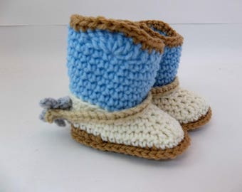 Cowboy Baby  Booties with Spurs Tan Blue & Natural  Crochet Cowboy Boots