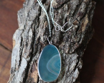 Turquoise Blue Agate Geode Slice Necklace