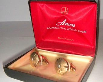 Gold tone cuff links Anson with original box / cufflinks vintage mens accessories