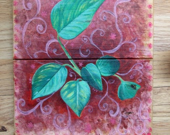 Devil's Ivy Plant painting on wood