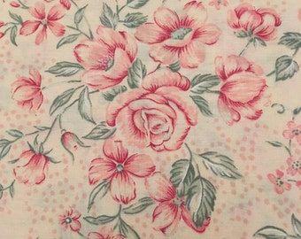 Pink Cotton Fabric, Floral Fabric, Classic Cotton, Quilting Fabric, One Yard