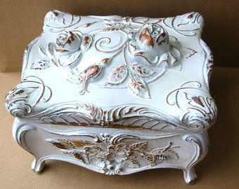 Large Shabby Chic Jewelry Casket - Antique Lidded Box - Metal Jewelry Box - Art Nouveau