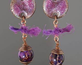 Enameled copper earrings, beaded copper earrings, purple copper earrings, earthy copper earrings, boho earrings, gypsy earrings, OOAK