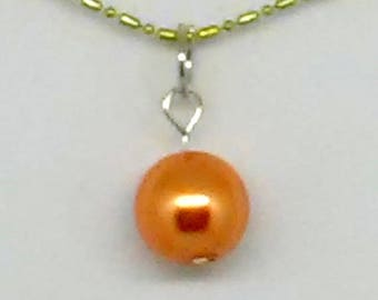Orange Glass Pearl Charm Necklace