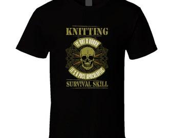 Knitting Gift, Knitting Tshirt, Black Tshirt, Black Tee, Printed Top, Post Apocalyptic, Skull Clothing, Modern Top, Heavy Metal Clothing