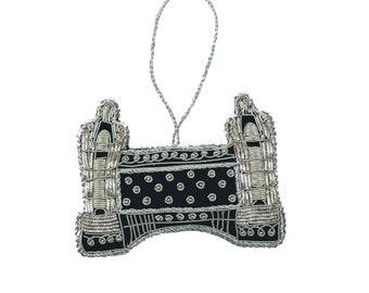 PresentProducts Handmade Christmas Ornament Gift- Silver Beaded London Bridge