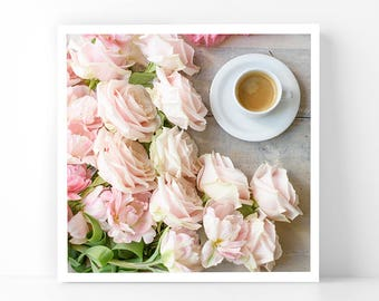 Paris Photography - Coffee and Roses, 5x5 Paris Fine Art Photograph, French Home Decor, Wall Art, Gallery Wall