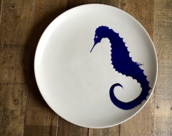 Blue ceramic seahorse pottery, blue and white pottery, serveware, serving tray,seahorse platter