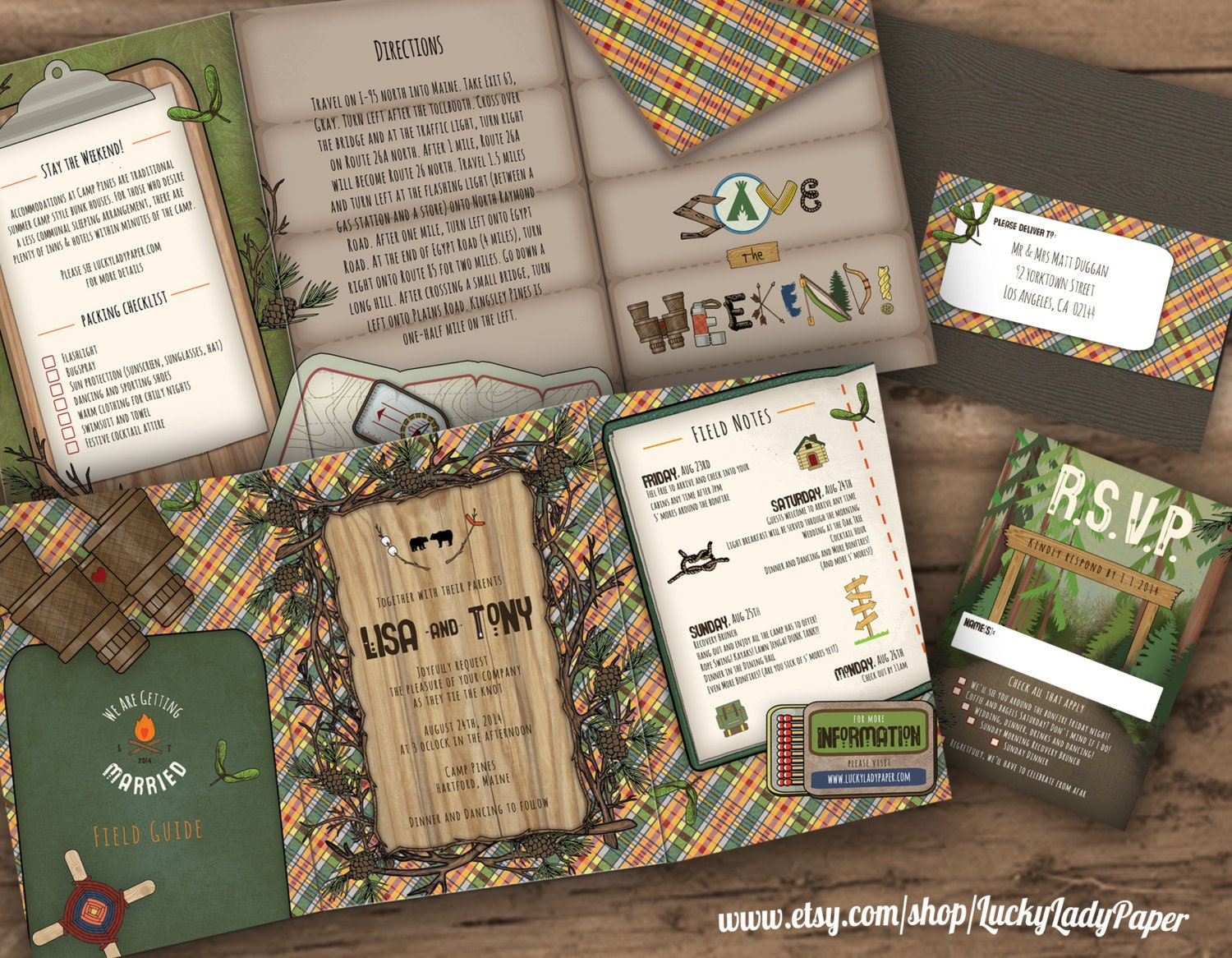 Endless Summer Camp Wedding Trifold Invitation Suite by
