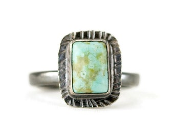 Turquoise Stack Ring - Hand Stamped Boho Sterling Ring