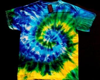 Geen & Yellow Spiral Tie Dye Shirt